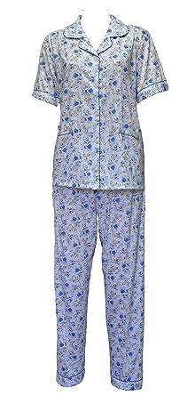 Womens Pyjamas Button Up Flower Print Pjs Night Suit Nighty Cotton Revere  Collar 8-20 (342) Blue  Amazon.co.uk  Clothing 57447dbb2