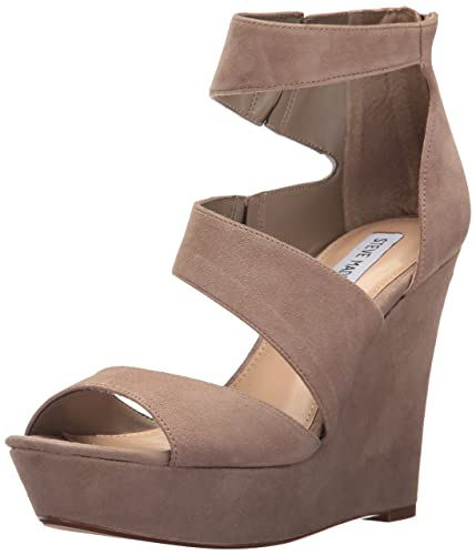 3c3a8fe7a4a Steve Madden Women s Essex Wedge Sandal Taupe Suede 10 ...