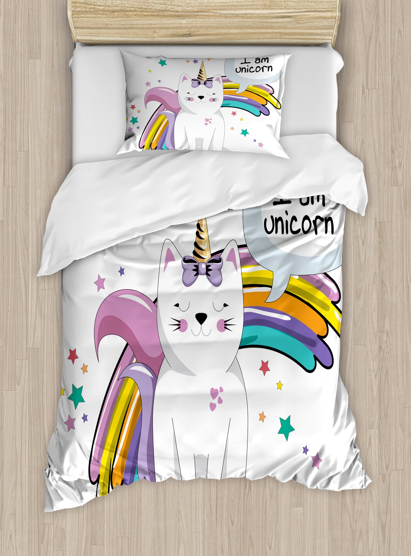 Ambesonne Unicorn Cat Duvet Cover Set Twin Size, Fairy Animal with Ice Cream Cone Bow Stars and Rainbow Kids Imagination Fiction, Decorative 2 Piece Bedding Set with 1 Pillow Sham, Multicolor