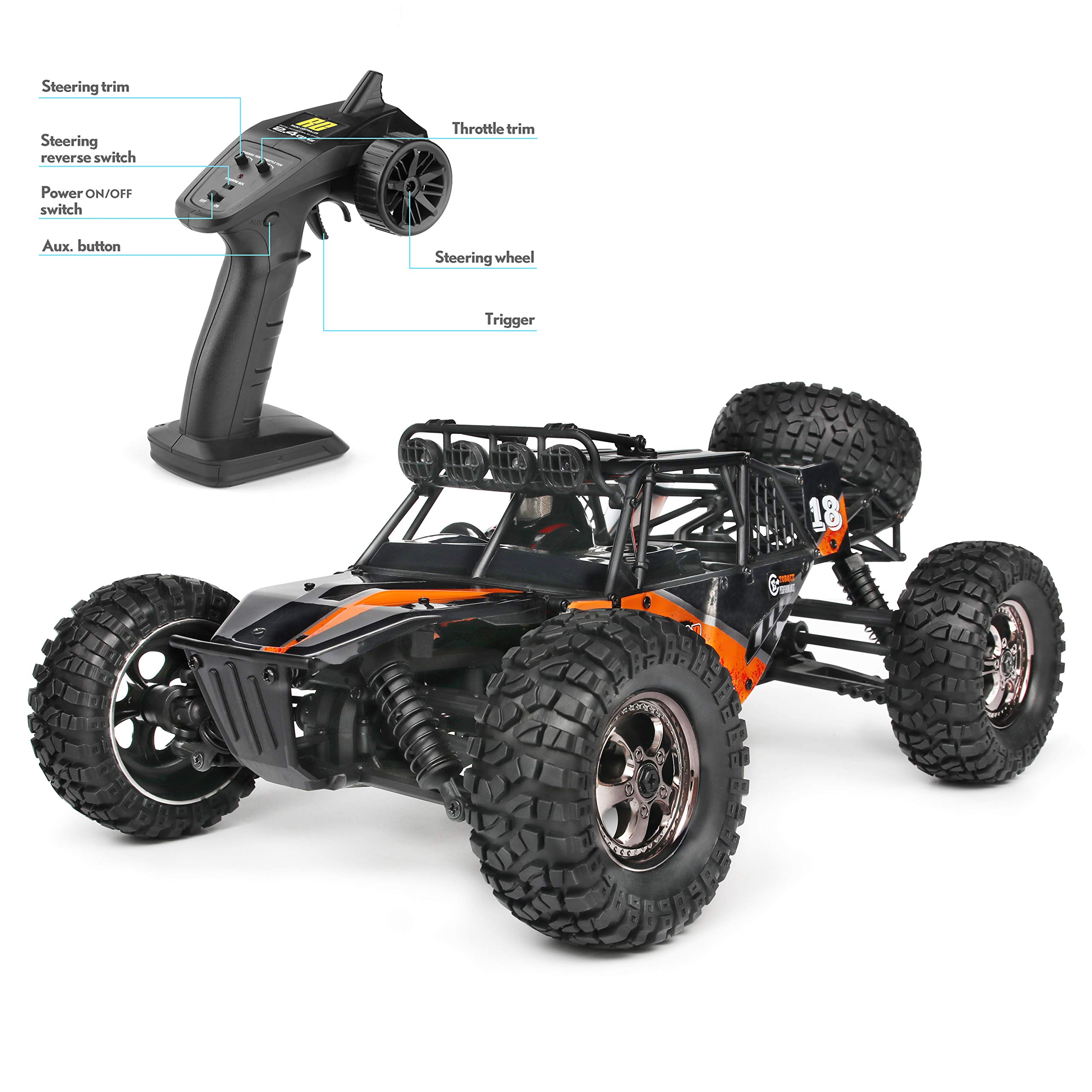 RC Cars Protector 1/12 Scale 4WD Off-Road Buggy 38+KM/H High Speed LED Lights, 2.4 GHz Radio Controlled All Terrain Waterproof Trucks RTR Electric Power Rechargeable Batteries 7.4 V 1500 mAh by BBM HOBBY (Image #1)