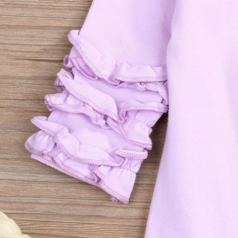 Newborn Baby Girls Boys Fold Ruffle Jumpsuit Unisex Solid Romper Long Sleeve Pajamas Set Coming Home Outfits+Headband