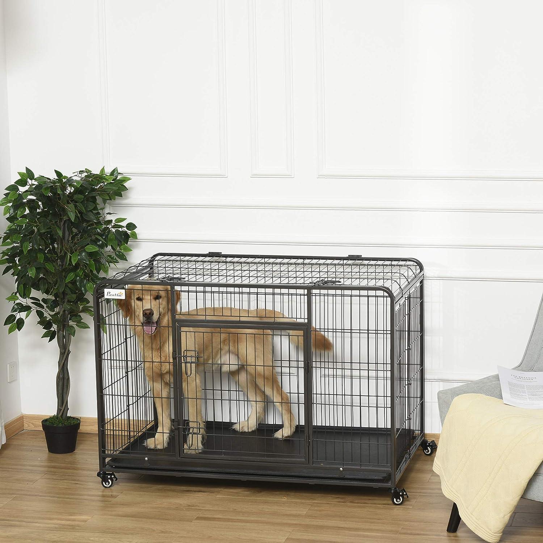 jaula de metal plegable fuerte. perrera y parque infantil para perros medianos y grandes con doble puerta, bandeja y ruedas