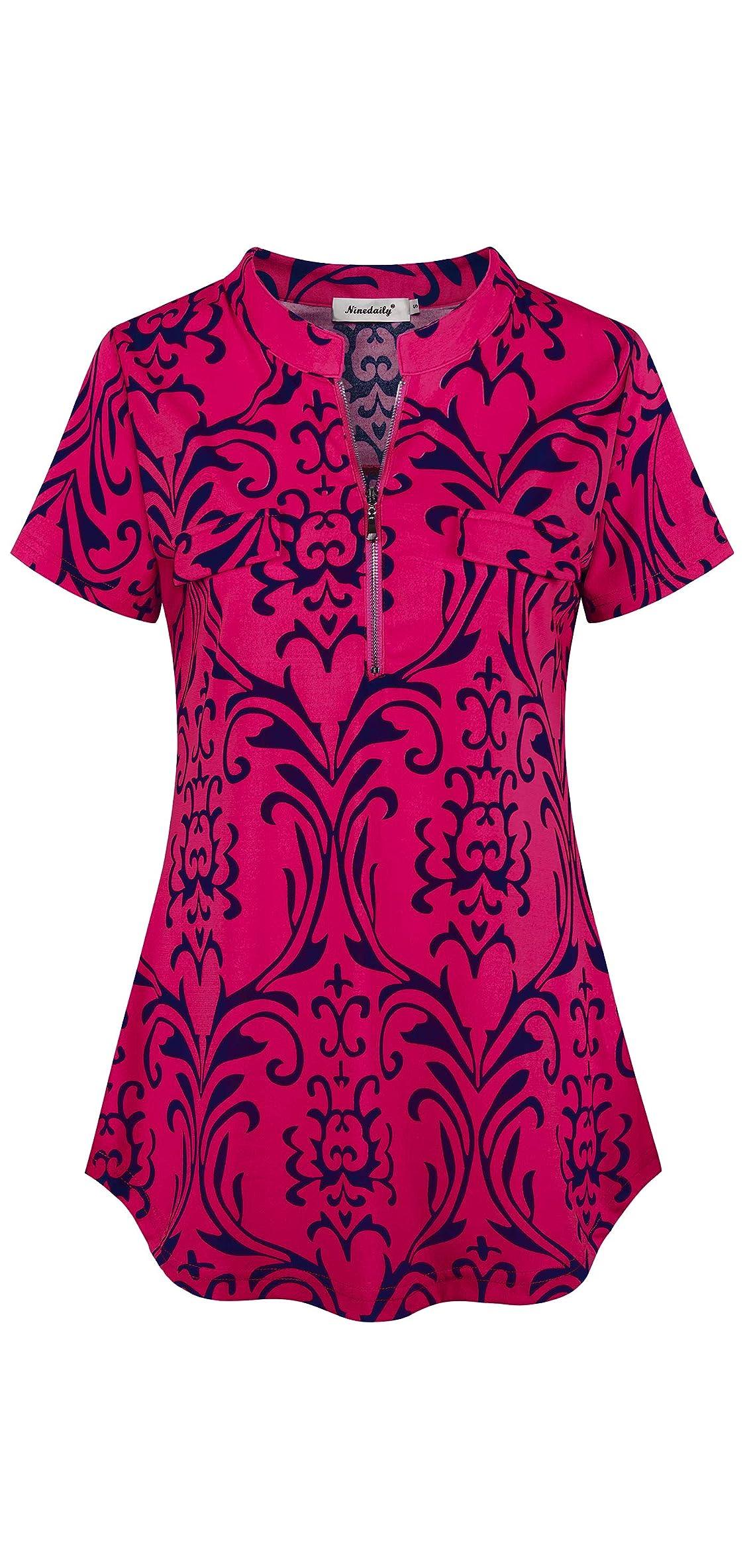 Women's Summer Tops Short Sleeve Casual Blouse Zip
