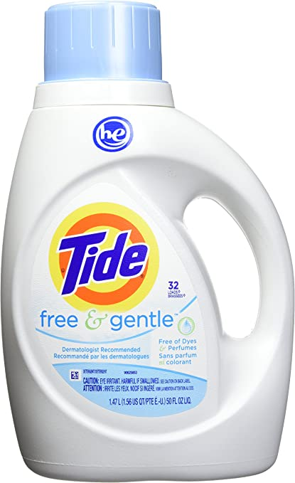 Tide Free and Gentle HE Liquid Laundry Detergent, 50 Fl Oz, 32 ...