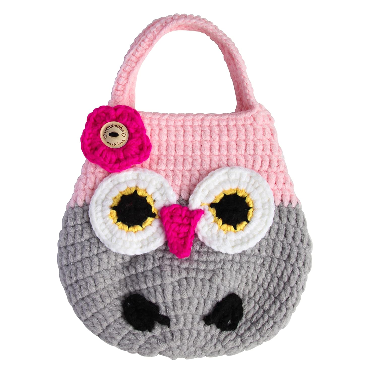 Amazon mini crochet owl purse for little toddler kids girls amazon mini crochet owl purse for little toddler kids girls birthday gift handbag natural cotton yarn handmade with love 81030pink and gray bankloansurffo Image collections