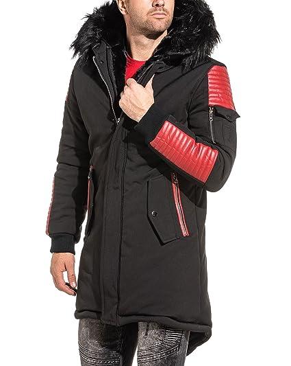 PROJECT X - Parka Homme Long Noir Simili Cuir Rouge Fourrure - Couleur  Noir  - Taille  XL XXL  Amazon.fr  Vêtements et accessoires 72faa9964234