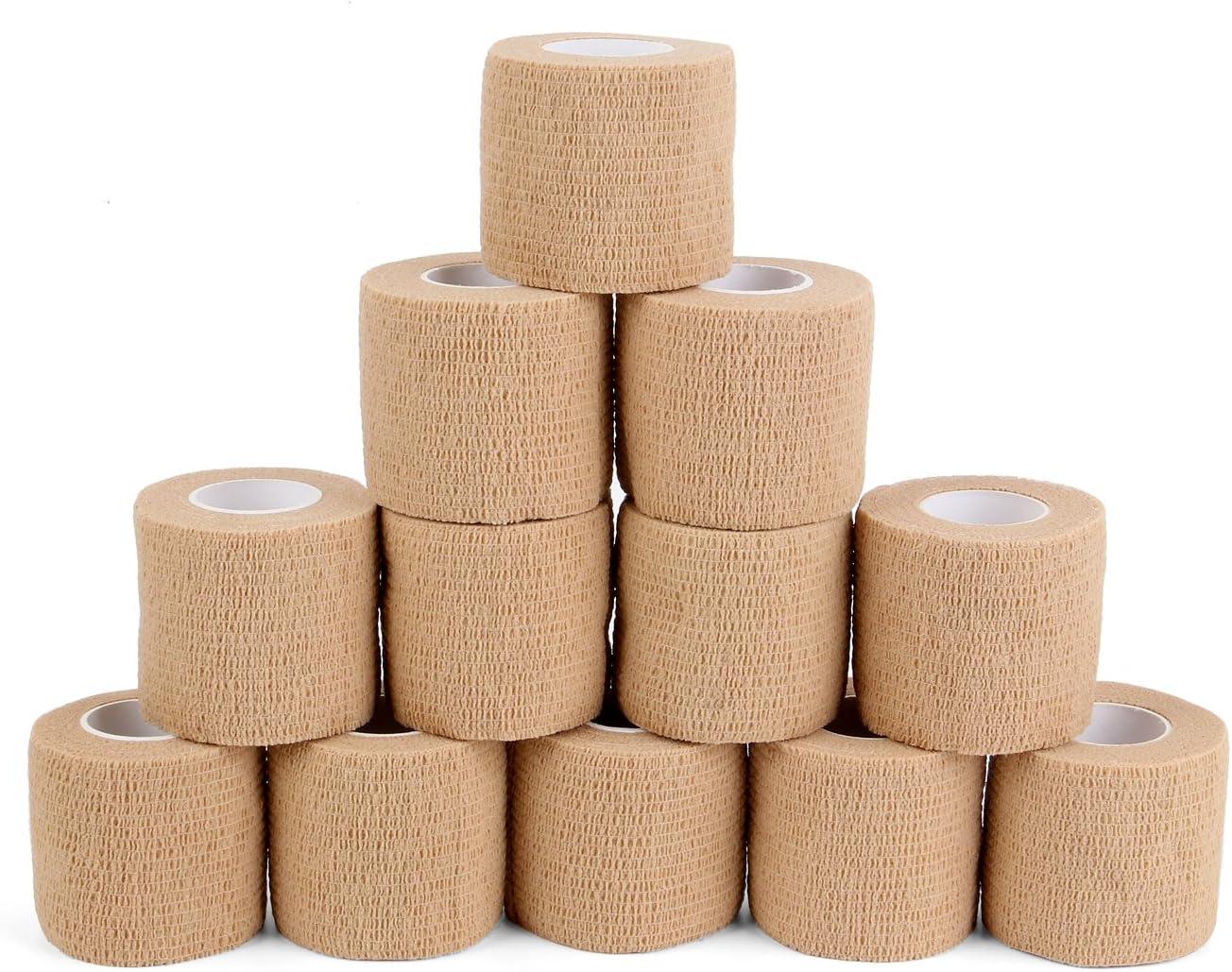 Vendaje adhesivo de 5 cm x 4.5 m, cinta deportiva adherente para esguinces e hinchazón en la muñeca y el tobillo, Suministros Médicos de Primeros Auxilios para Protección Deportiva