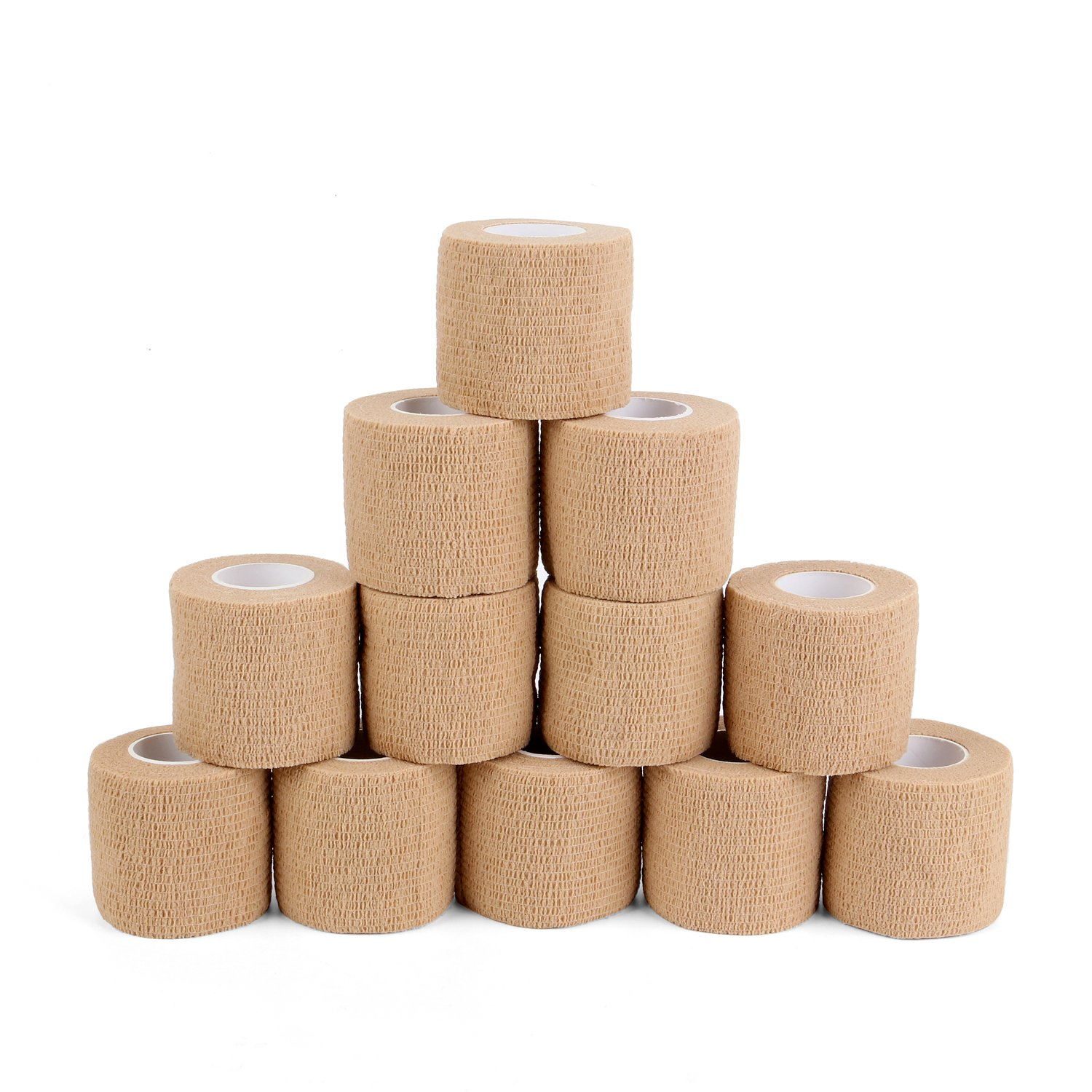 Superbe Self Cohesive Bandage 2''x5 Yards (12 Rolls Pack), Adherent Sports Tape for Sprains & Swelling on Wrist and Ankle, FDA Approved, First Aid Sports Protection Medical Supplies