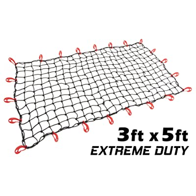 "3ft x 5ft PowerTye Mfg EXTREME Duty 6mm Bungee Elastic Cargo Net | Stretches to 60"" x 90"" 