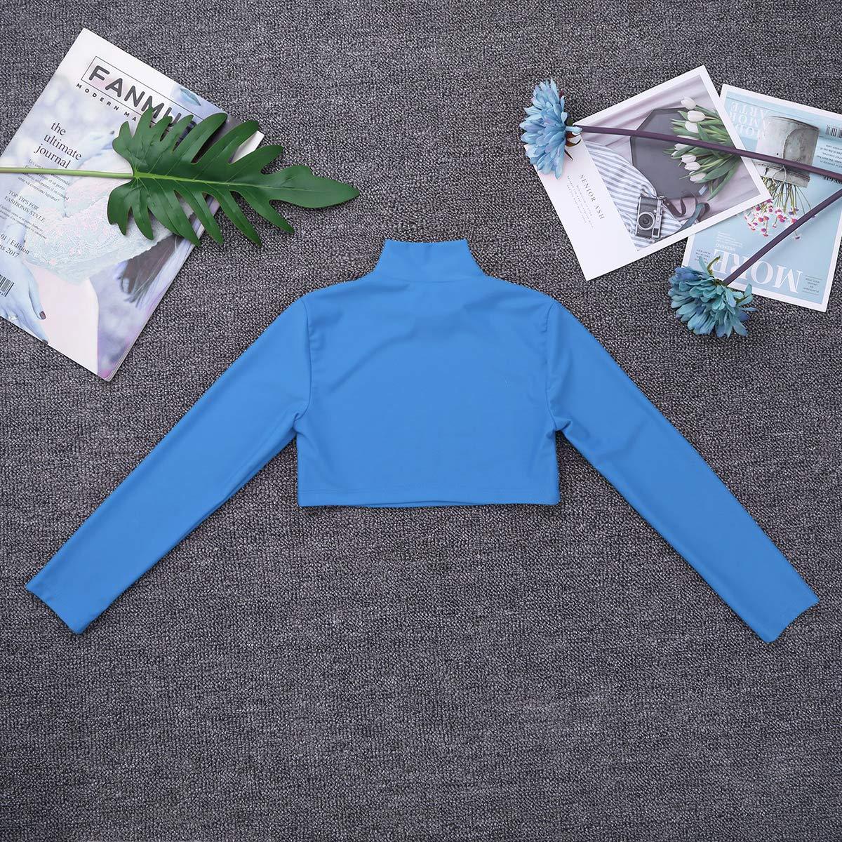 MSemis Enfant Fille Haut Manches Longues T-Shirt Hauts de Danse Ballet Vest de Gymnastique Costume de Danse Tops Tank Veste de Performance Fitness Sportswear 6-14 Ans