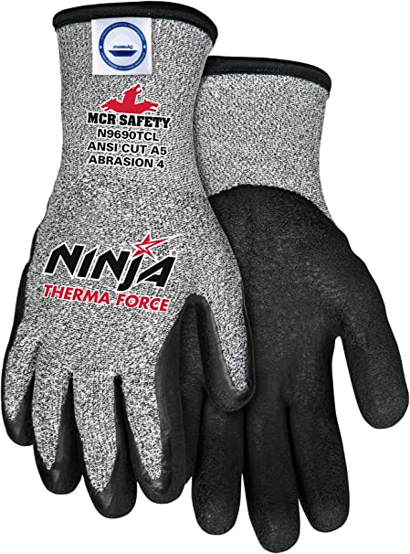 Memphis Glove N9690TCM Ninja Therma Force Double Layer Gloves with Bi-Polymer Dipped Palm and Fingertips, Gray, Medium, 1-Pair