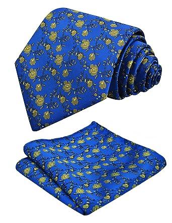 Alizeal Mini Flor-Juego de Corbata y Pañuelo para Hombre Azul ...