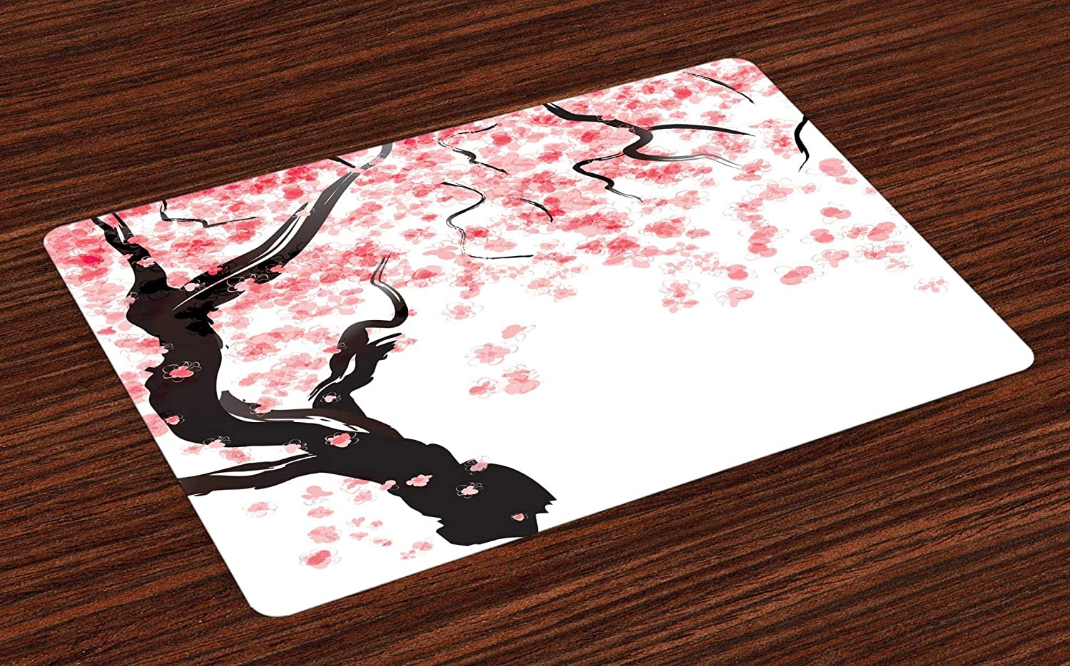 Ambesonne Floral Place Mats Set of 4, Japanese Cherry Tree Blossom in Watercolor Painting Effect, Washable Fabric Placemats for Dining Room Kitchen Table Decor, Pale Pink Seal Brown Charcoal Grey