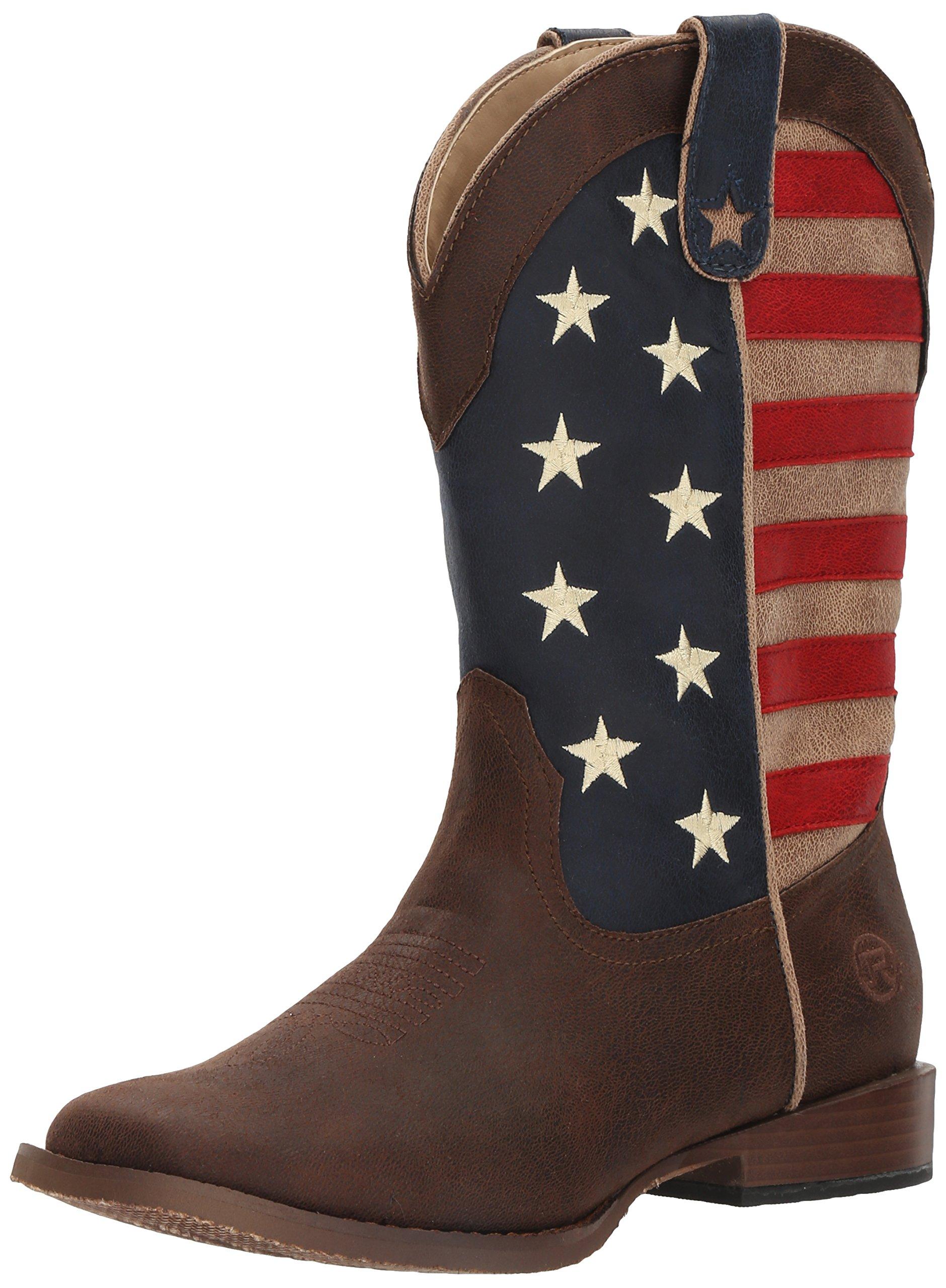 Roper Boys' American Patriot, Brown, 4 M US Big Kid