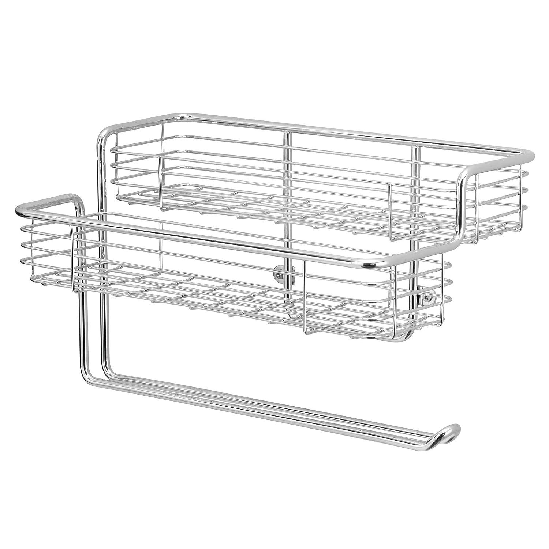mDesign Portarotolo cucina – Porta rotolo da parete salvaspazio in metallo – Portarotolo da muro con ripiano per spezie integrato – argento MetroDecor