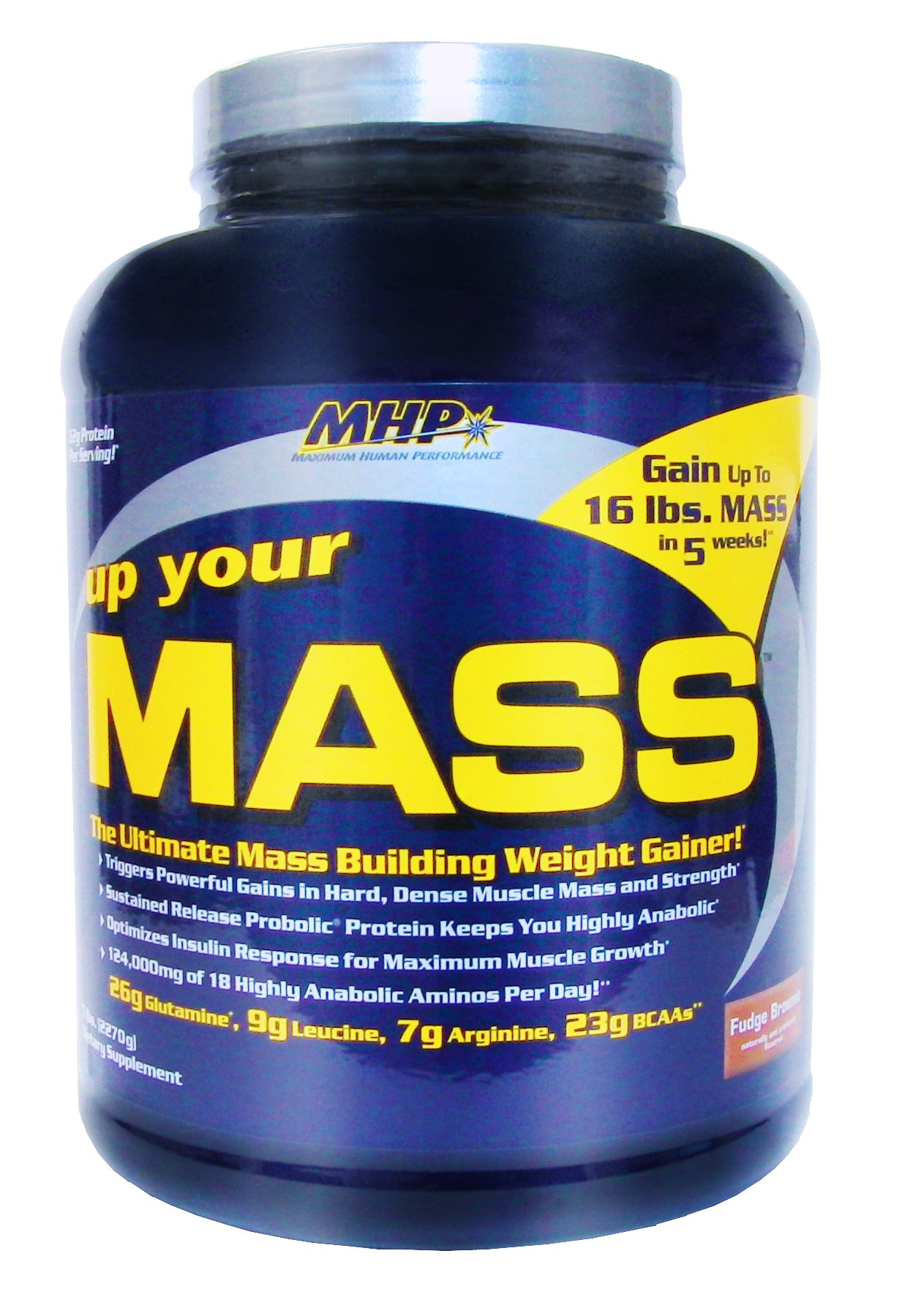 MHP, Up Your Mass Weight Gainer, Fudge Brownie, 5 Pound