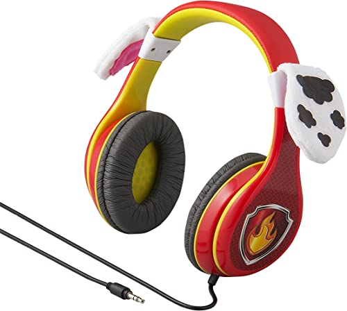 Paw Patrol Marshall Kids Headphones, Adjustable Headband, Stereo Sound, 3.5Mm Jack, Wired Headphones for Kids, Tangle-Free, Volume Control, Foldable, Headphones Over Ear, Frustration Free Packaging