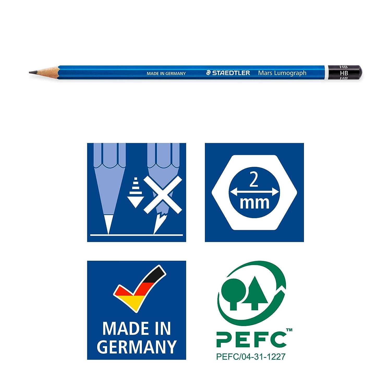 Soft Set of 12 Degrees 100G12S Staedtler Lumograph Graphite Drawing /& Sketching Pencils