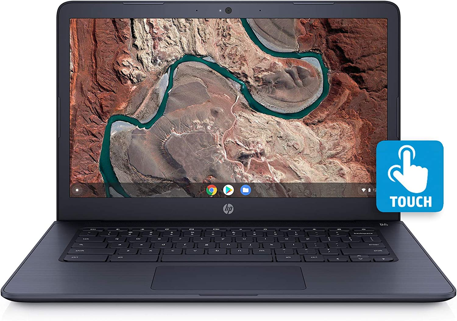 HP 14inch Full HD Touchscreen Chromebook AMD Dual-Core A4-9120 Processor, 4GB DDR4 Memory, 32GB eMMC Storage, AMD Radeon Graphics,Audio by B&O, Chrome OS Ink Blue(Renewed)