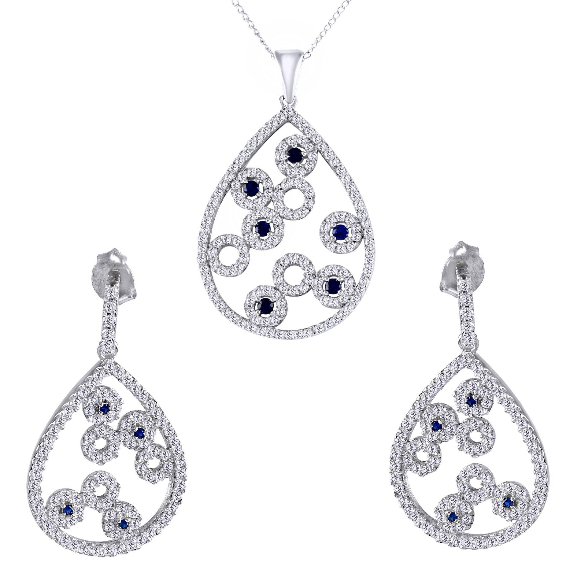 Vintage Style Teardrop Contour Earrings Pendant Set In 925 Sterling Silver By Jewel Zone US by Jewel Zone US