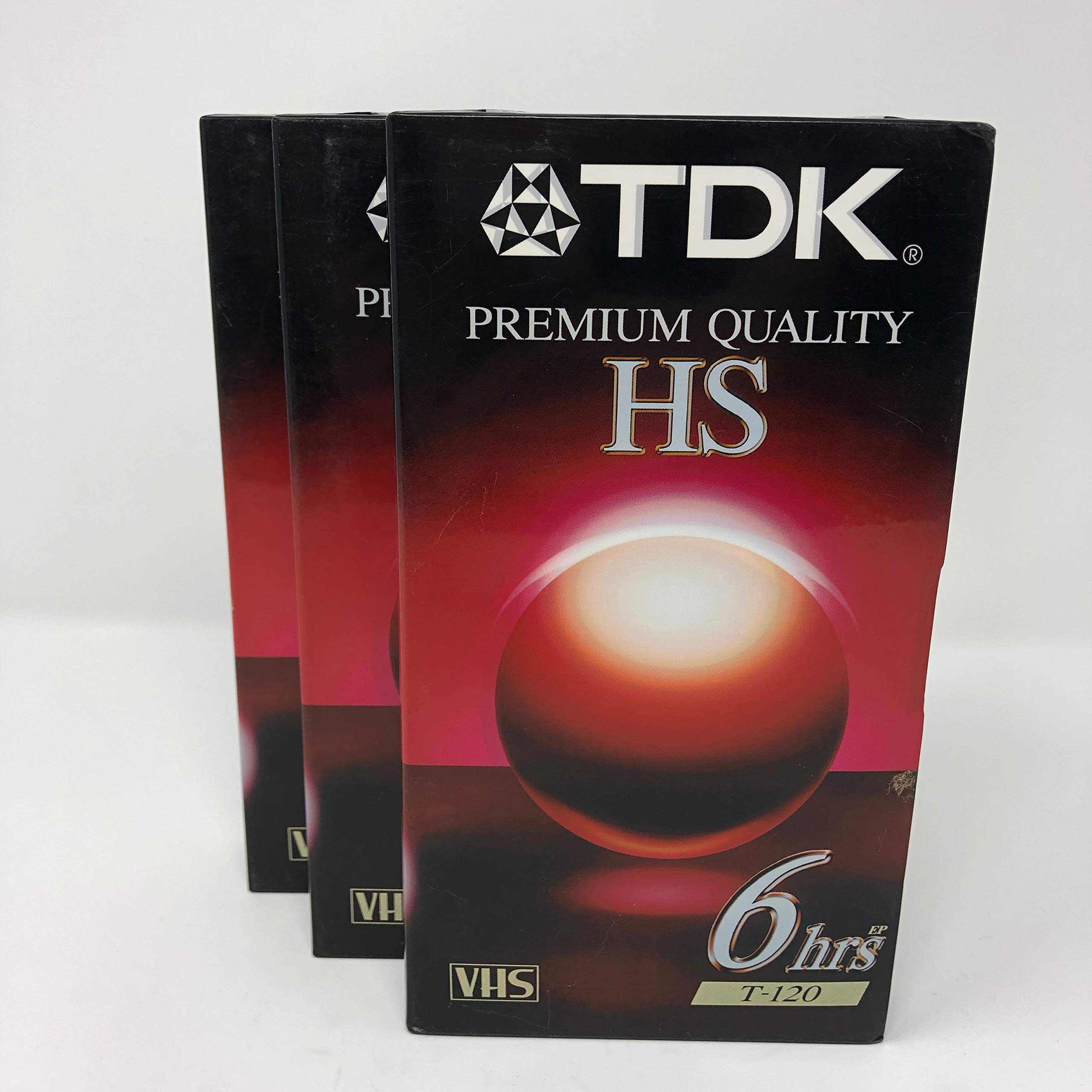 TDK T-120 VHS Tape 3 Pack Premium Quality 6 Hours