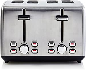 Continental Electric Toaster ps77451, 4-Slice, Stainless Steel