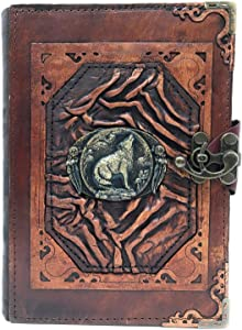 Handmade Genuine Sheep Leather Journal Diary Notebook Notepad Sketchbook Sketchpad Book Case Cover Vintage Paper Plain Women Men Children Office Product Christmas Gift - Brown Wolf