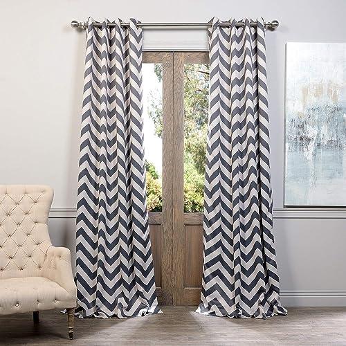 HPD Half Price Drapes BOCH-KC37-96-GR Grommet Blackout Room Darkening Curtain 1 Panel , 50 X 96, Fez Grey Tan