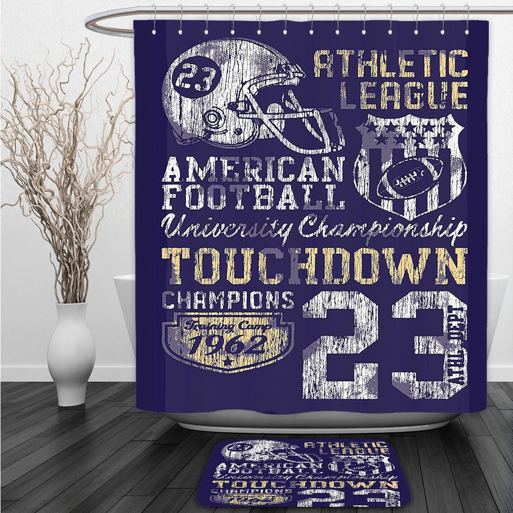 Vipsung Shower Curtain And Ground MatSports Decor Set Retro American Football College Version Illustration Athletic Championship Apparel Blue White YellowShower Curtain Set with Bath Mats Rugs
