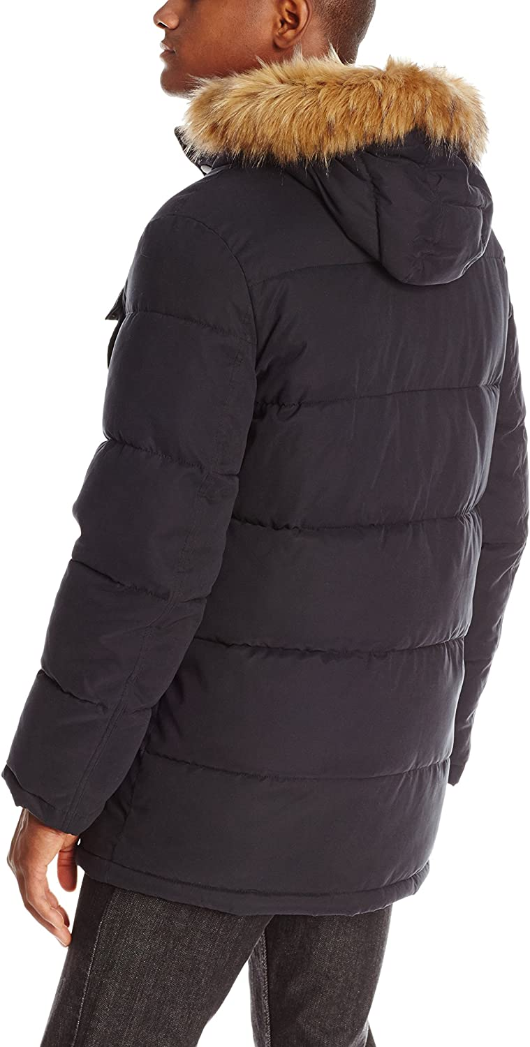 Tommy Hilfiger Mens Micro Twill Full-Length Hooded Parka Coat