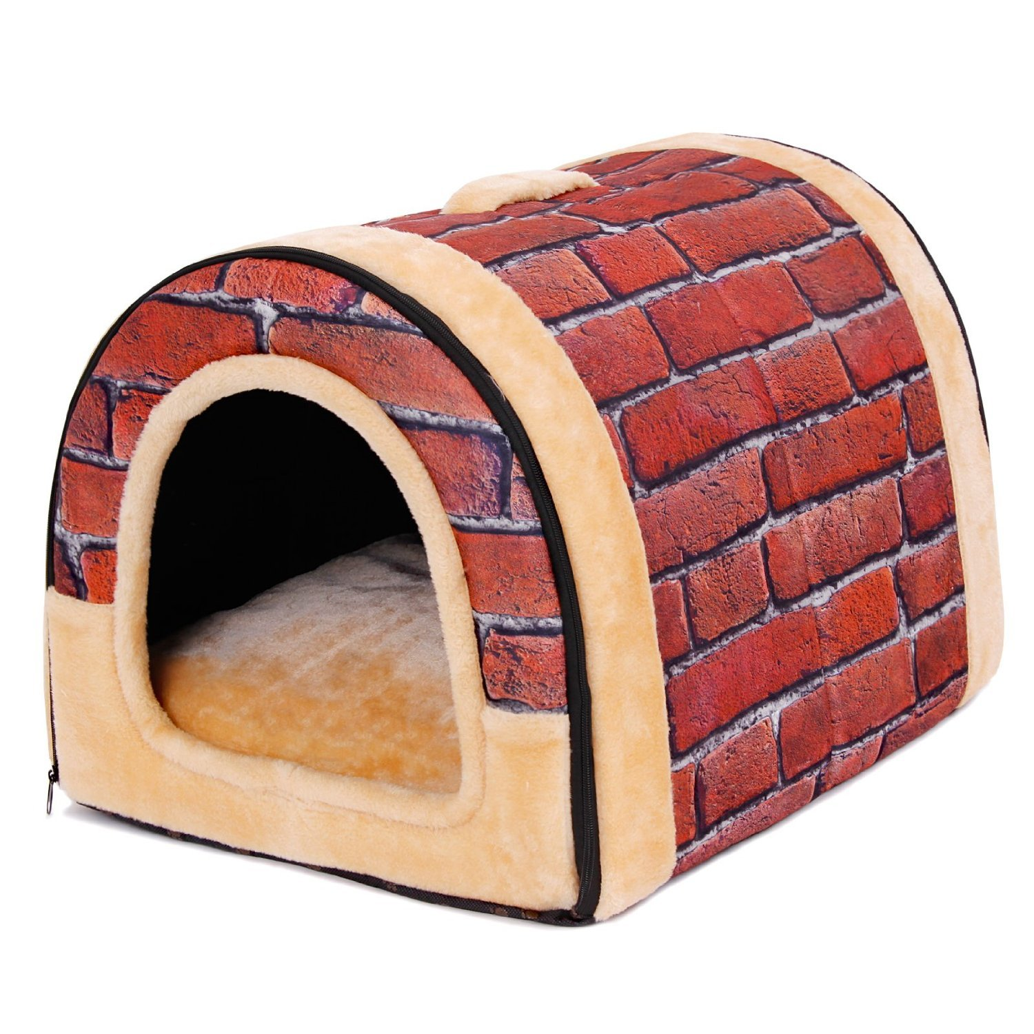 PAWZ Road 2-in-1 Pet house and Sofa Non-Slip Dog Cat Igloo Beds 3-Size Brick M