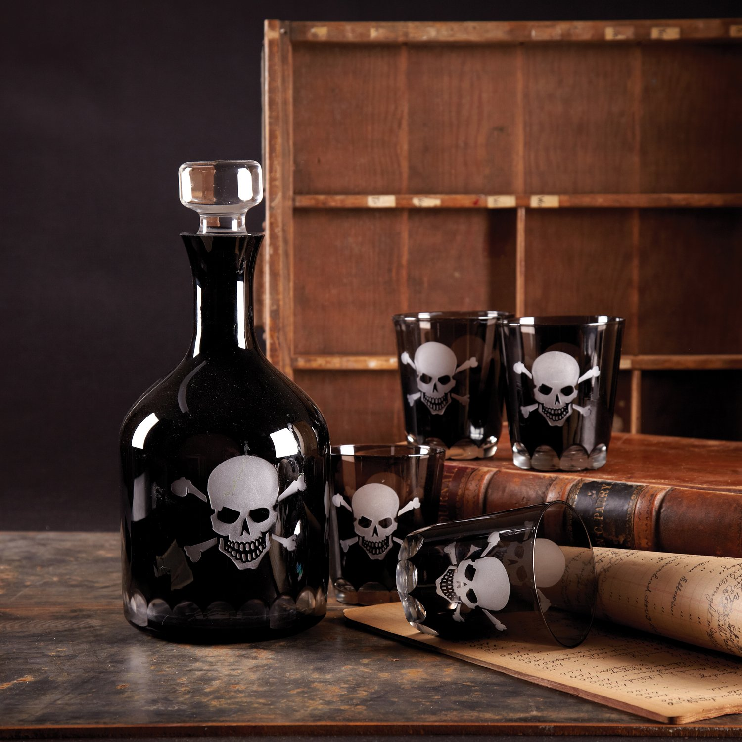 Halloween Skull and Crossbones Etched Glass Decanter and 4 Lowball Glasses