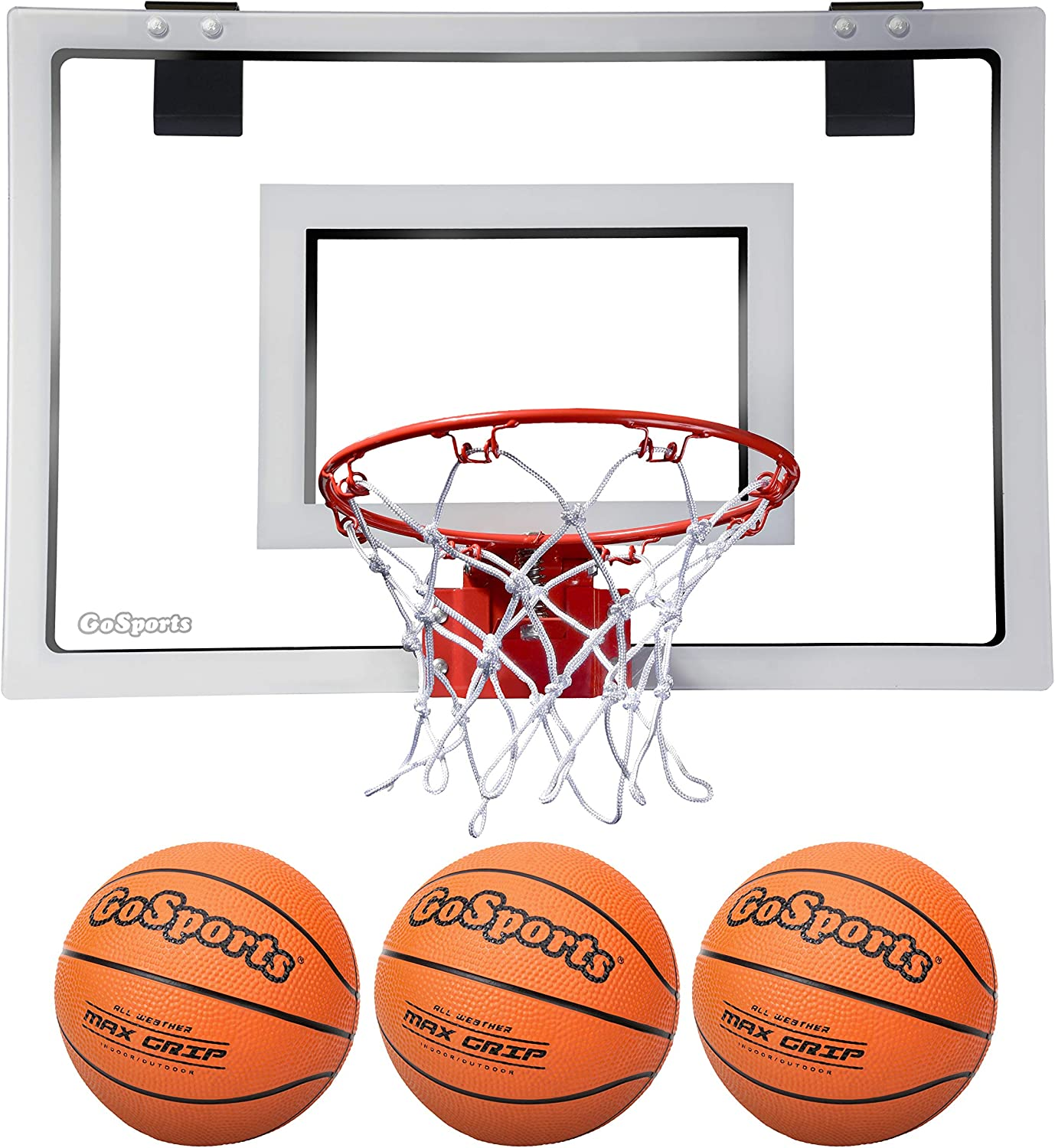 Cali Kiwi Pros Mini Basketball 9 Hoop//net for Wall Mount Hand Pump and Bonus 8 Mini basketballs-Indoor Basketball for Kids-Home and Party Games Single Panel Junior Size in American red Cedar