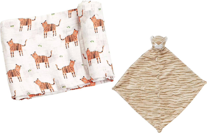 Angel Dear Soft Swaddle Blanket and Baby Blankie Gift Set. (Tiger Set)