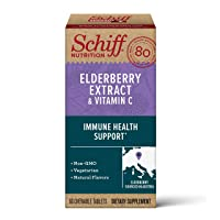 Schiff Elderberry Extract & Vitamin C Chewable Tablets, (60 Count in a Bottle),...