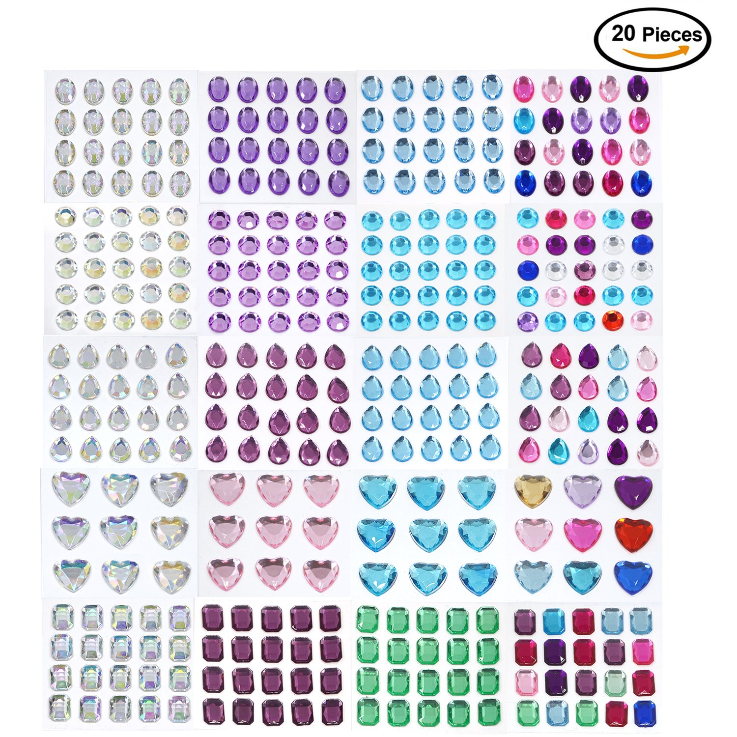 Lanpu Self-adhesive Rhinestone Sticker Bling Craft Jewels Crystal Gem Stickers, Multi-color & Shape, Assorted Size, 15 Sheets