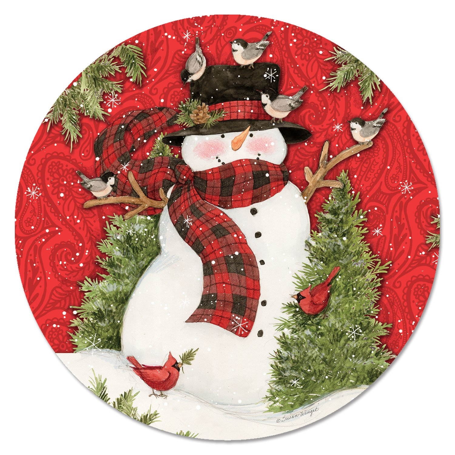 CounterArt 13-Inch Glass Lazy Susan Turntable Serving Plate, Festive Snowman with Birds