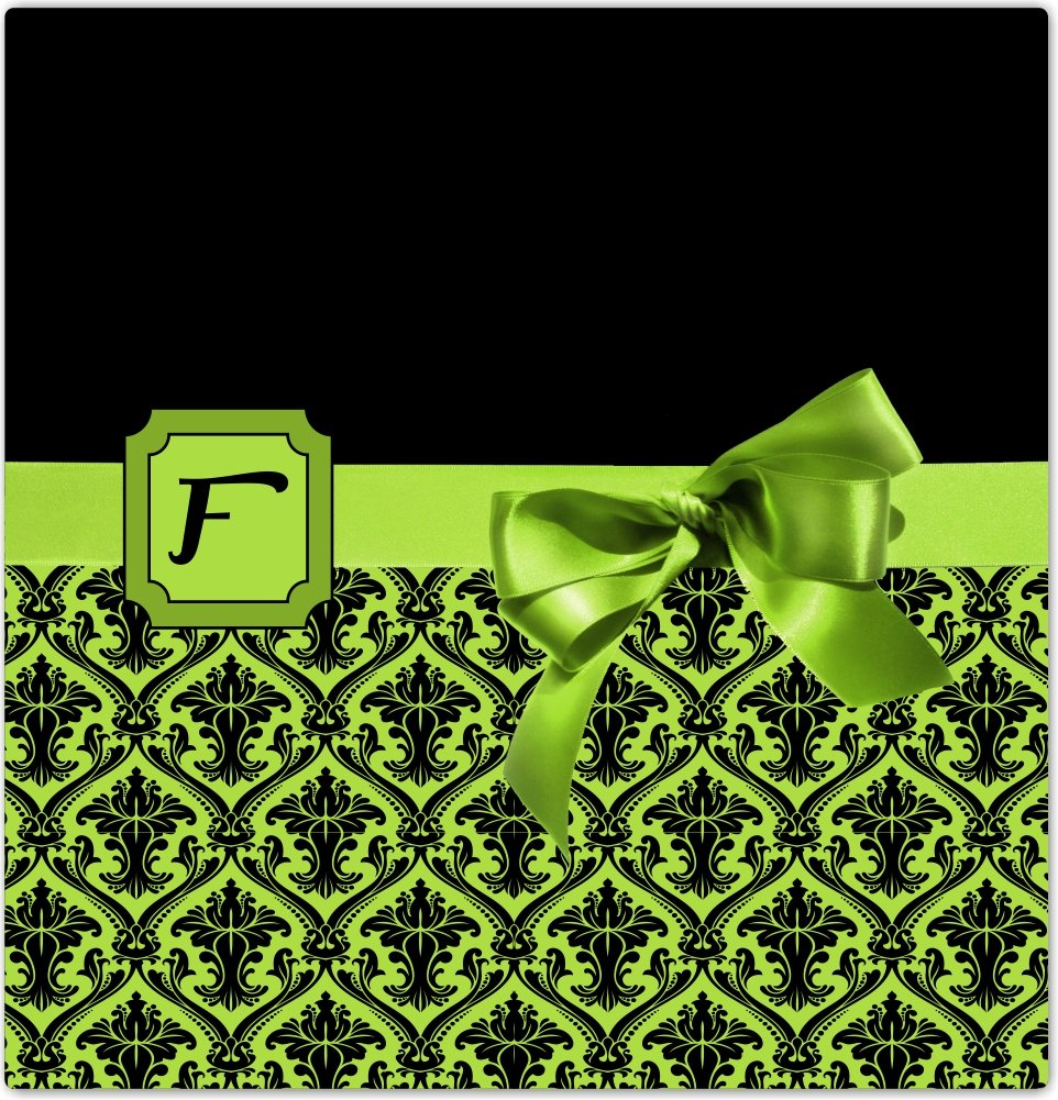 4 by 4 Rikki Knight Letter F Lime Green Monogram Damask Bow Design Ceramic Art Tile