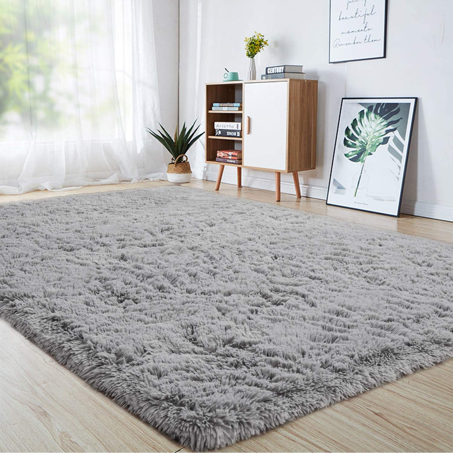 junovo Ultra Soft Area Rugs 6 x 9ft Fluffy Carpets for Bedroom Kids Girls Boys Baby Living Room Shaggy Floor Nursery Rug Home Decor Mats, Grey