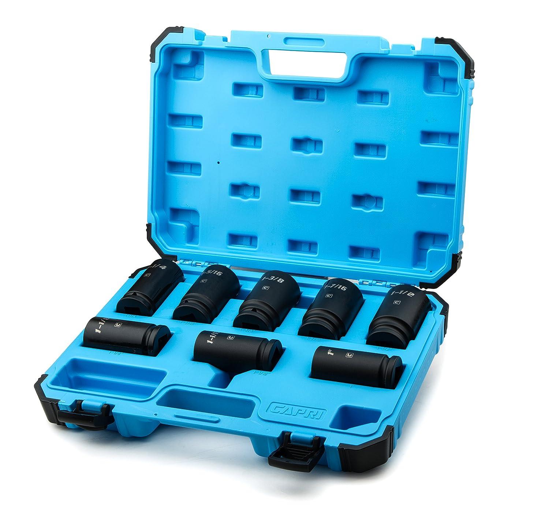 CrMo SAE 8-Piece Capri Tools 3//4-Inch Drive Deep Impact Socket Set
