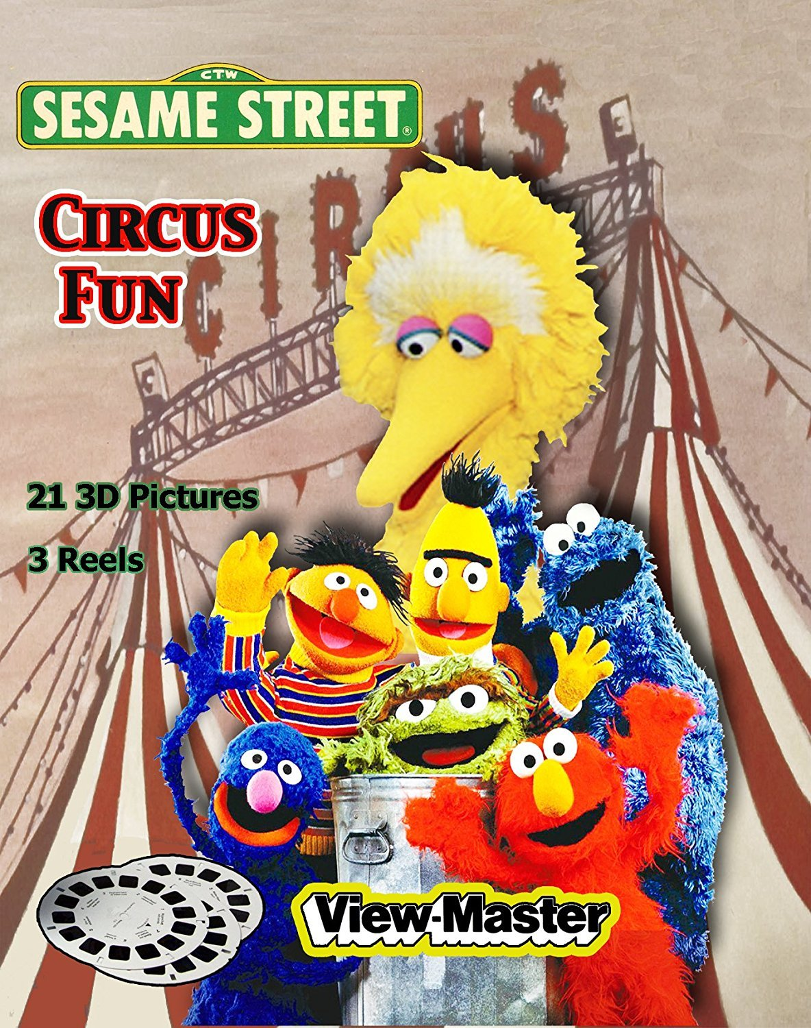 Sesame Circus Fun - 21 3D Images - Classic ViewMaster - 3 Reel Set - Bert, Elmo, Ernie, Grover by 3Dstereo ViewMaster