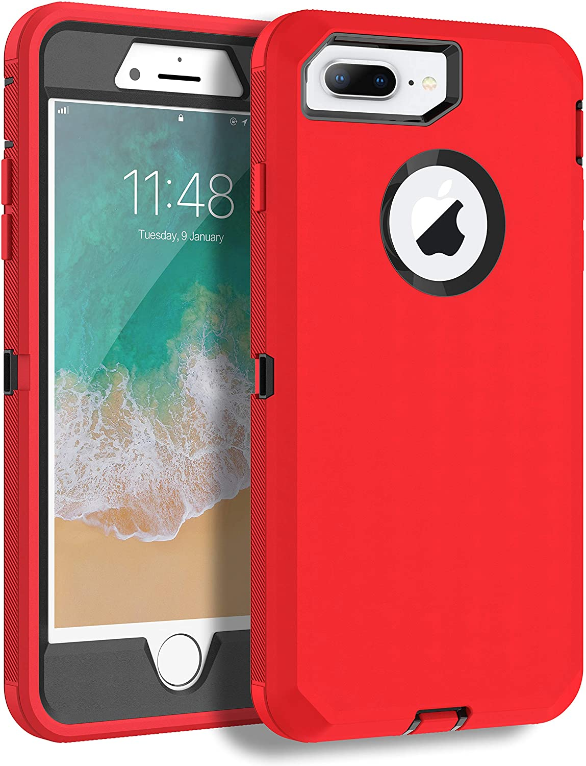 MXX iPhone 8 Plus Heavy Duty Protective Case with Screen Protector [3 Layers] Rugged Rubber Shockproof Protection Cover for Apple iPhone 7 Plus - iPhone 8 Plus/Apple Phone 8+ (Red/Black)