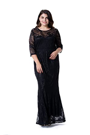 af689292a6 ESPRLIA WomenEsprlia Women Plus Size Lace Ruched Empire Waist Sweetheart  Fishtail Cocktail Evening Maxi Dress (2X