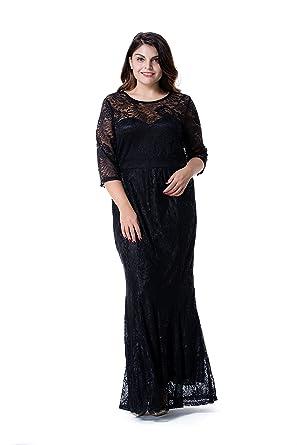 b3c23aca96 ESPRLIA WomenEsprlia Women Plus Size Lace Ruched Empire Waist Sweetheart  Fishtail Cocktail Evening Maxi Dress (2X