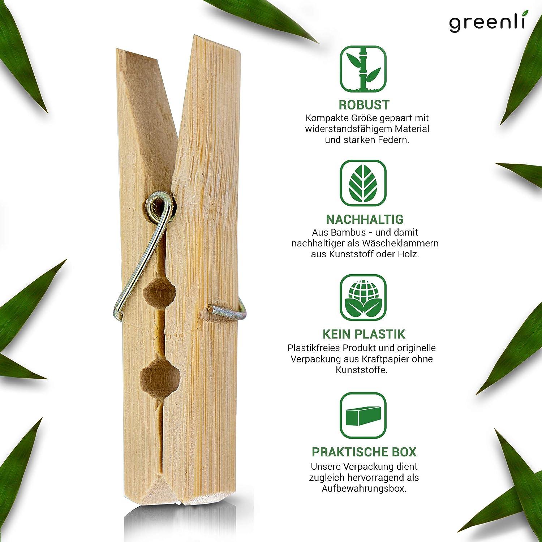 muelles extrafuertes 14020107 Pinzas para Manualidades Pinzas sostenibles de Madera 120 Unidades ECENCE Pinzas de bamb/ú para la Ropa 60 x 12.5 x 11mm