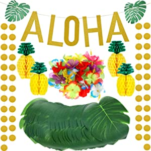 143 Pieces Hawaiian Tropical Luau Theme Party Decoration Set, Include Tissue Paper Pineapple, Tropical Palm Simulation Leaves, Artificial Hibiscus Luau Flower, Gold Glittery Aloha Banner (Green)