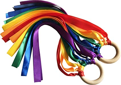 hand kite, baby sensory toys gift wooden ring Montessori rainbow ribbons