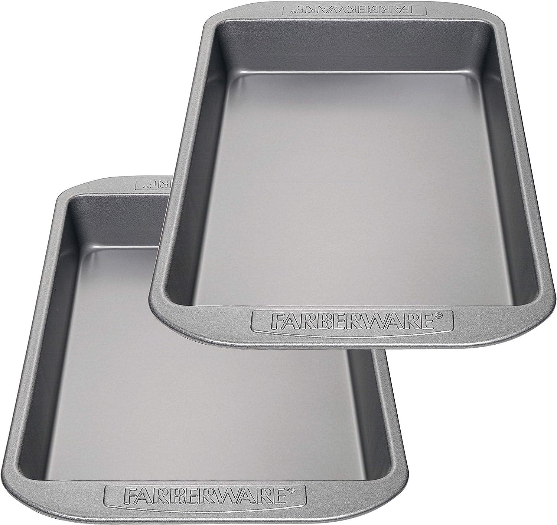 Farberware Nonstick Bakeware Baking Pan Set / Nonstick Cake Pan Set, Rectangle - 2 Piece, Gray