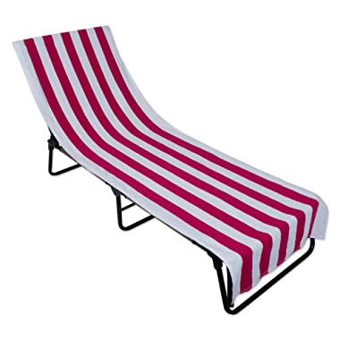J & M Home Fashions Stripe Beach Lounge Chair Towel with Fitted Top Pocket, 26x82, Pink