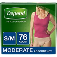 Depend FIT-FLEX Incontinence Underwear for Women, Moderate Absorbency, S/M